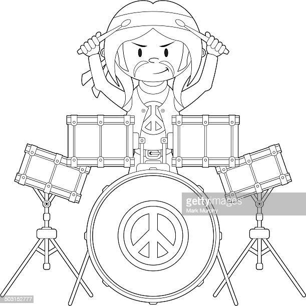 hippie boy playing drums - snare drum stock illustrations, clip art, cartoons, & icons