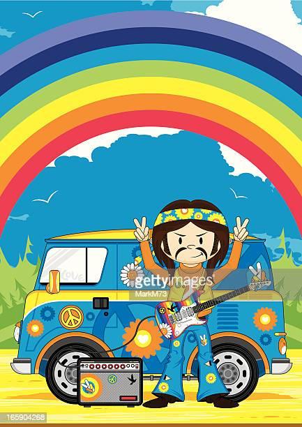 Hippie Boy with Guitar & Camper Van Scene