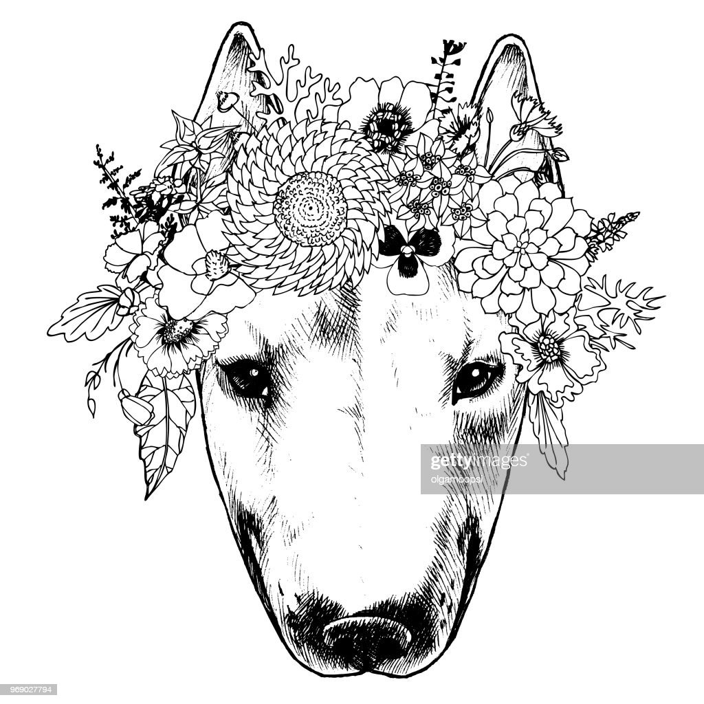 Hippie bull terrier in the floral wreath.