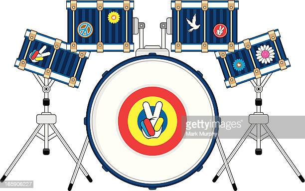 hippie drum kit - snare drum stock illustrations, clip art, cartoons, & icons