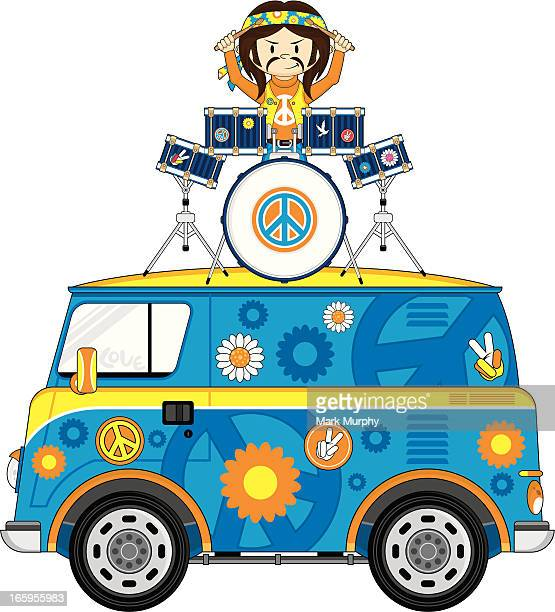 hippie drummer on van - snare drum stock illustrations, clip art, cartoons, & icons
