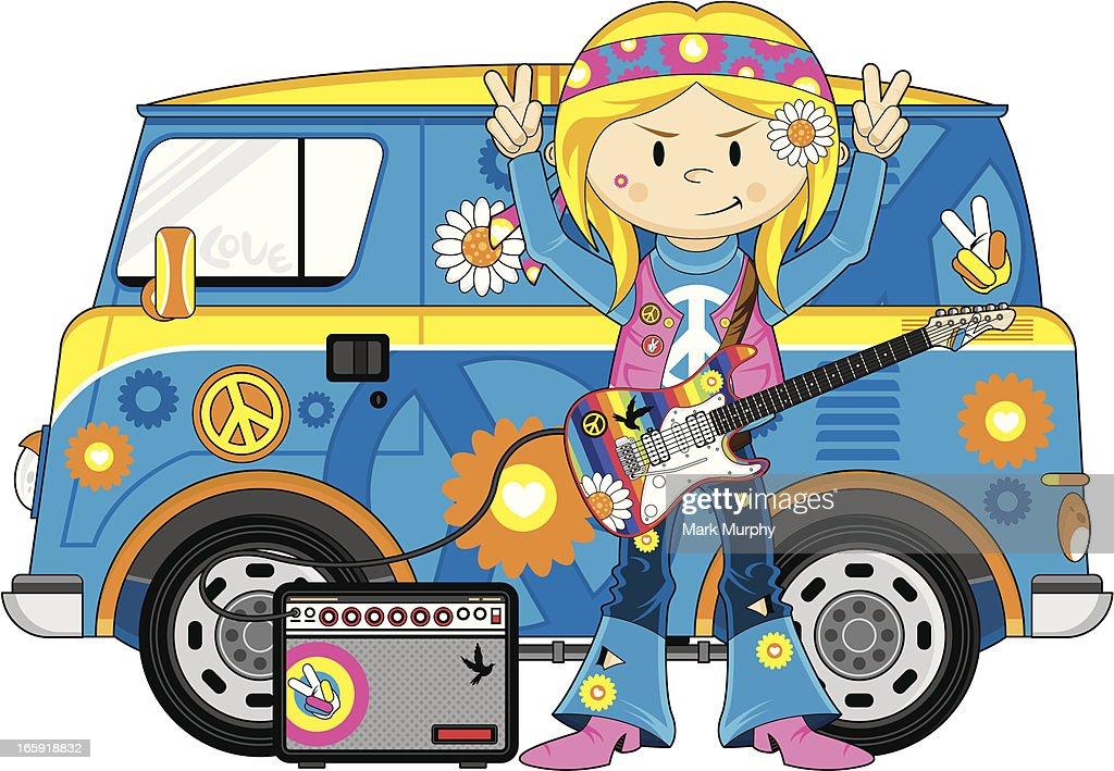 Hippie Girl & Camper Van