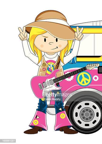 Hippie Girl Guitarist and Camper Van