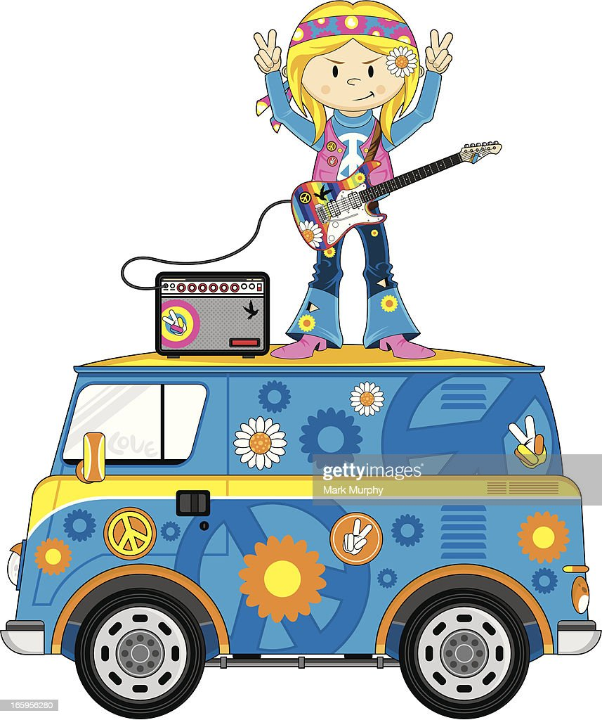 Hippie Girl on Camper Van