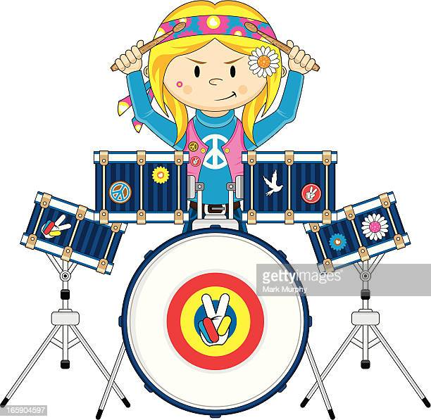 hippie girl playing drums - snare drum stock illustrations, clip art, cartoons, & icons