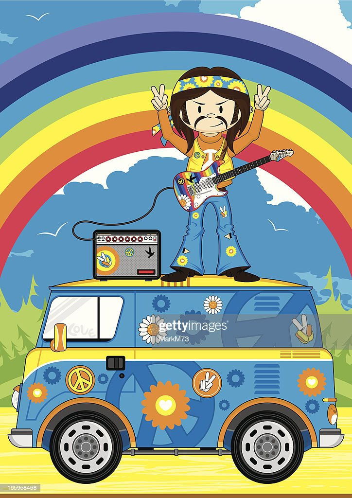 Hippie Guitarist on Camper Van Scene