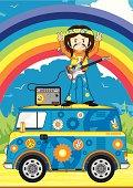 Hippie Guitarist on Camper Van Scene