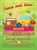 Hippie music festival poster, vector illustration