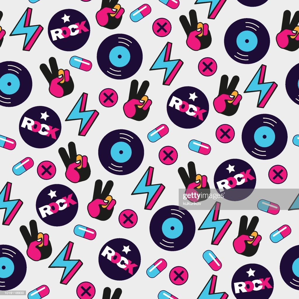 hippie seamless vector rock pattern with vinyl