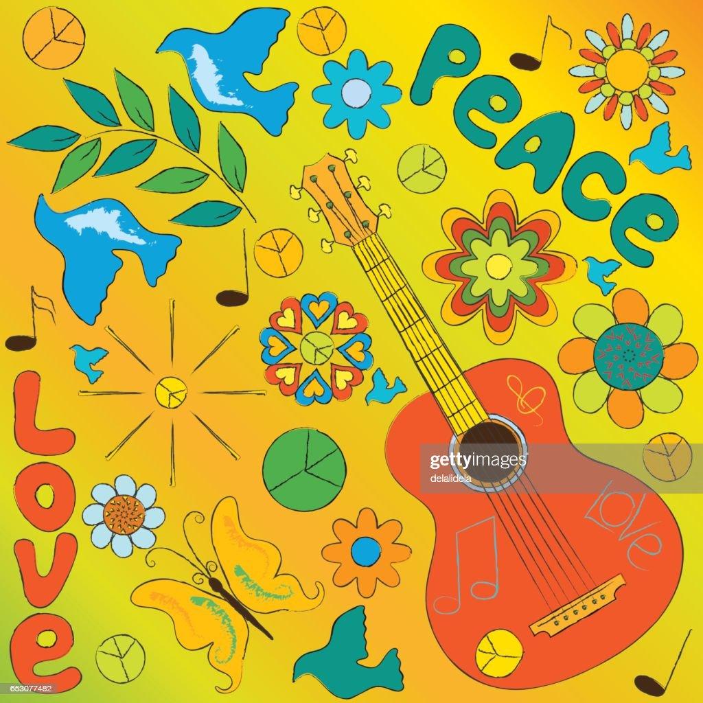 hippie symbols on a yellow background