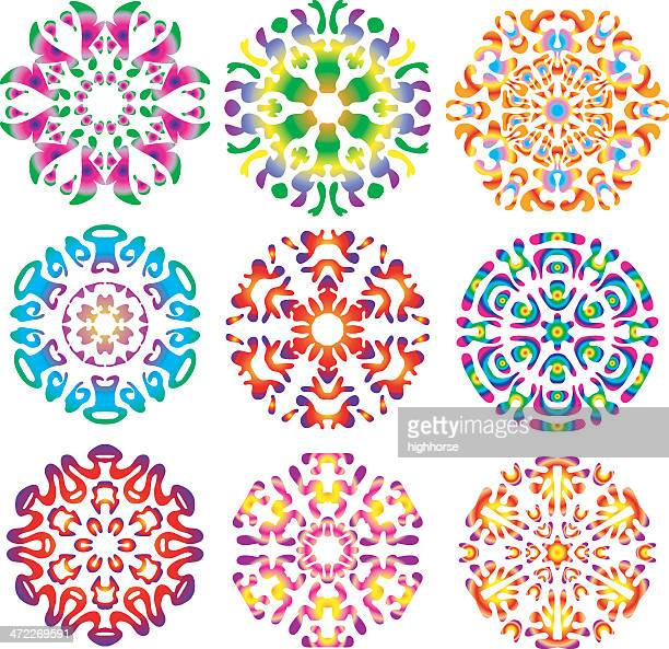 hippie tie-dye snowflakes - tie dye stock illustrations