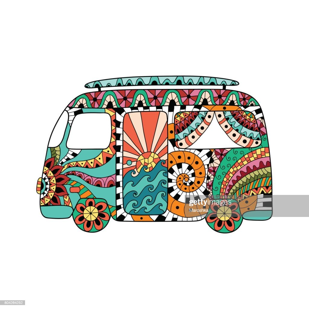 Hippie vintage car a mini van in ornamental style. Colorful hippie bus.