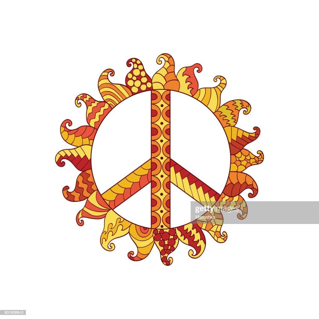 Hippie vintage peace symbol in ornamental style.