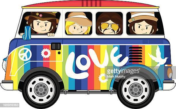 Hippies in Rainbow Van
