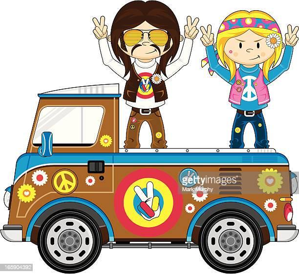Hippies on Pick-Up Camper Van