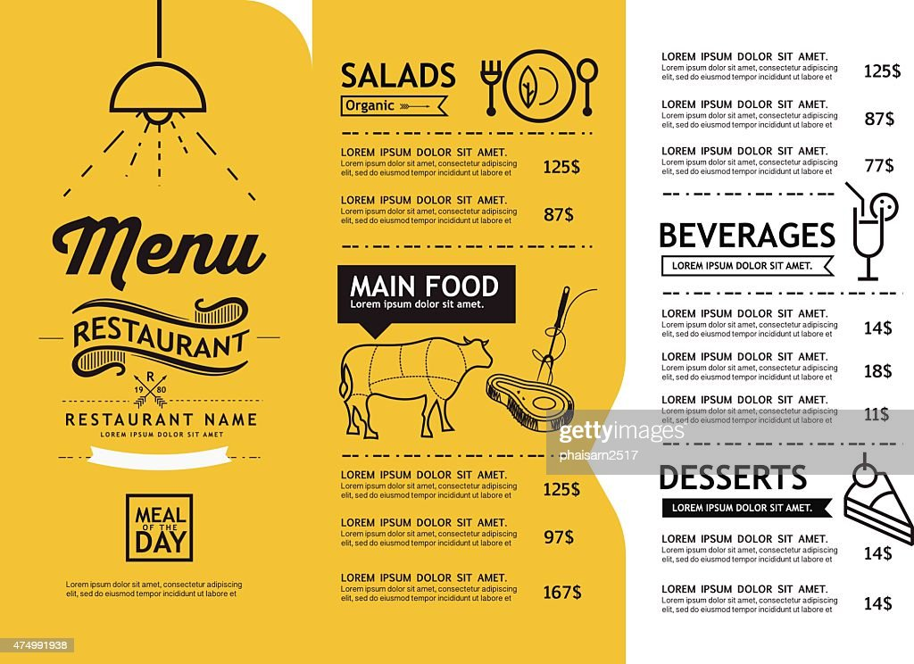 hipster and vintage art restaurant menu design template.