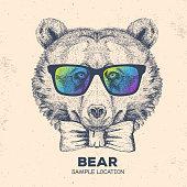 Hipster animal bear. Hand drawing Muzzle of bear