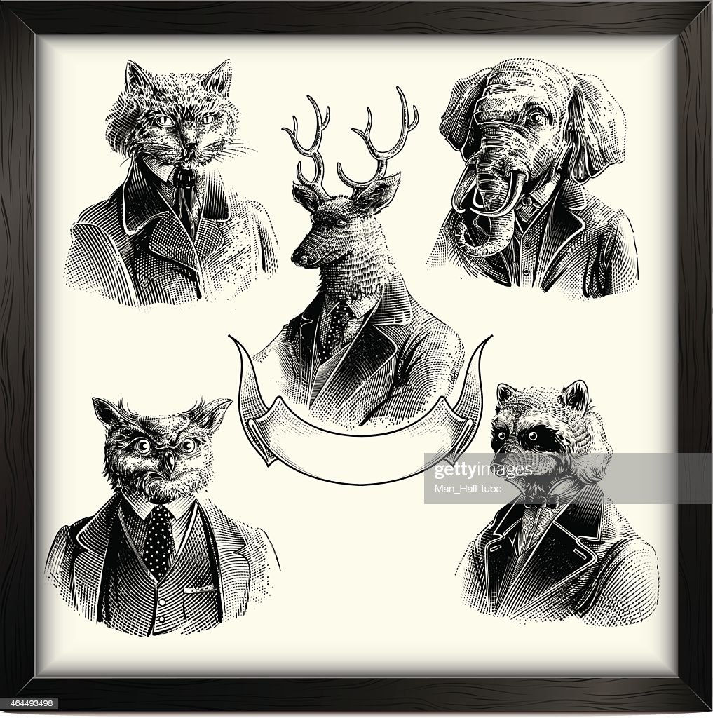 Hipster Tiere set : Stock-Illustration