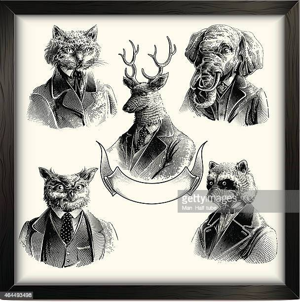 hipster animals set - woodcut stock illustrations