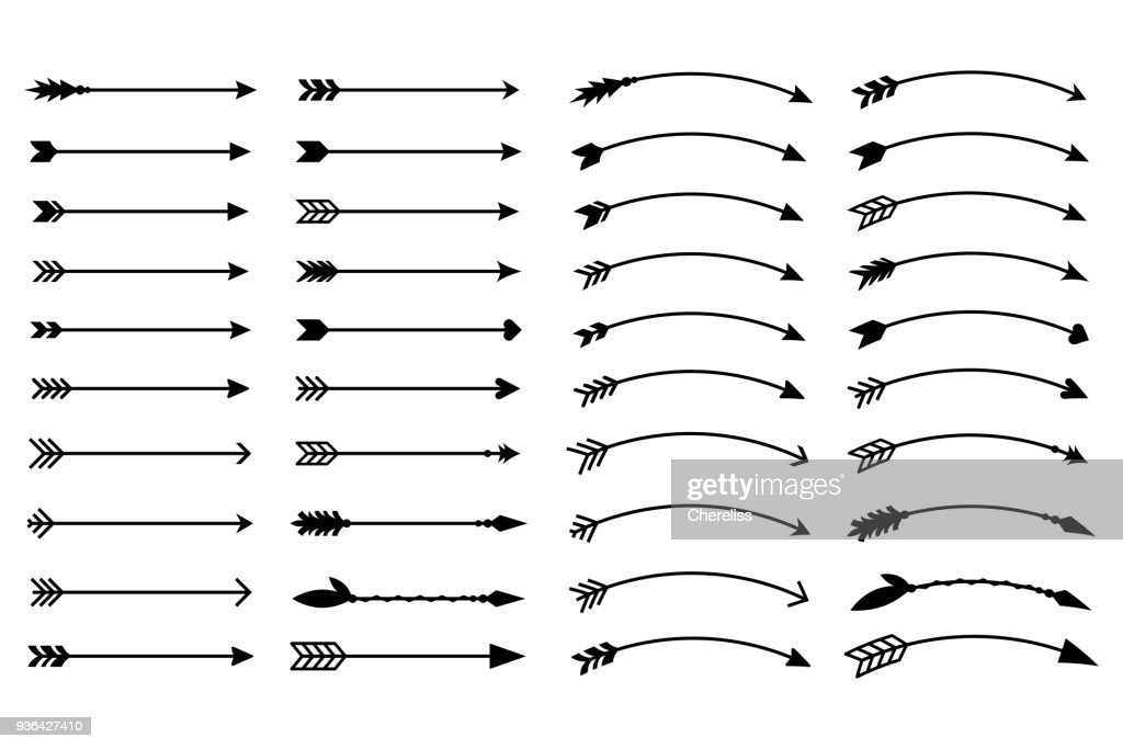 Hipster arrows. Arrows in boho style. Tribal arrows. Set of Indian style arrows. Rustic decorative arrows. Vector