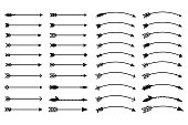 Hipster arrows. Arrows in boho style. Tribal arrows. Set of Indian style arrows. Rustic decorative arrows. Vector