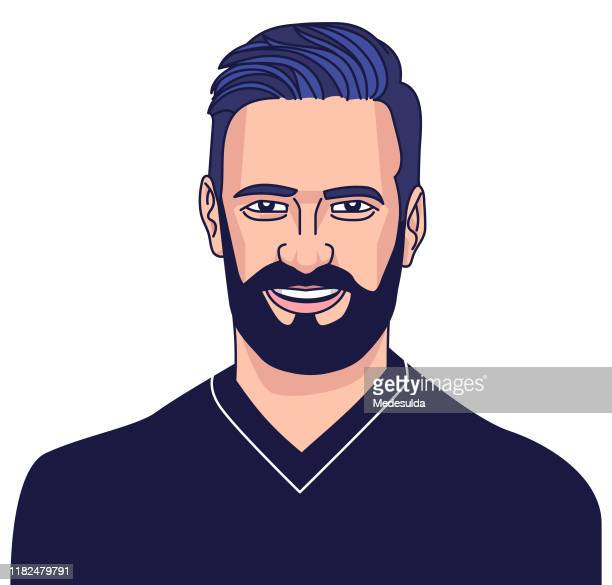 hipster beard - 25 29 years stock illustrations