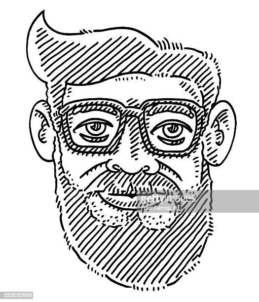 Hipster Bearded Face Glasses Drawing