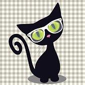 Hipster Black kitten