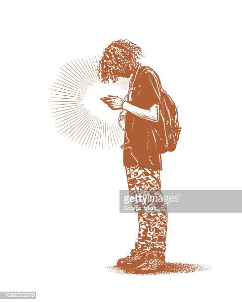 hipster boy using phone and listing to music - androgynous stock illustrations, clip art, cartoons, & icons