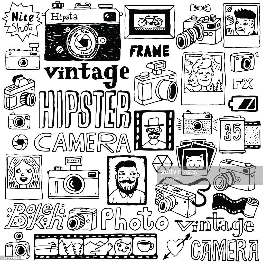 Hipster cameras doodle hand drawn vector  set.