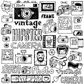 Hipster cameras doodle hand drawn vector  set.