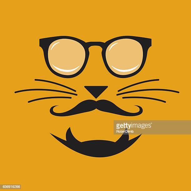 illustrations, cliparts, dessins animés et icônes de hipster cat face - moustache