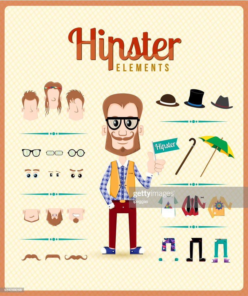 Hipster character design with hipster elements and icons. Vector illustration. Eps10