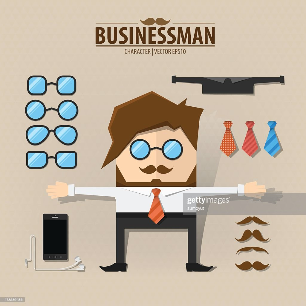 Hipster character pack for business man with accessory,Vector EP