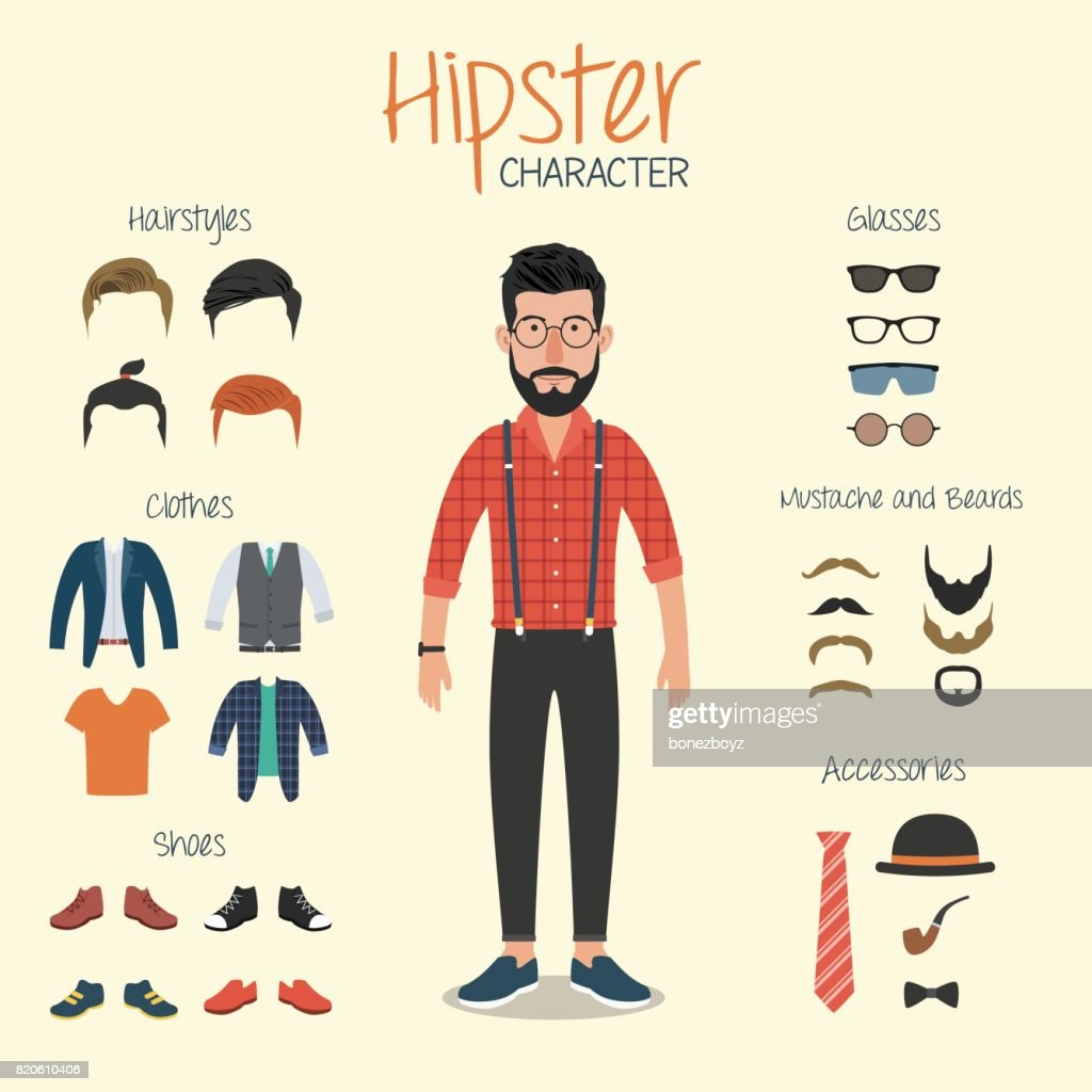 Hipster Character with Hipster Elements