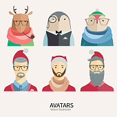 Hipster Christmas avatars in flat style.