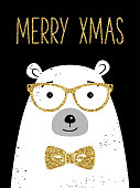 Hipster Christmas greeting card with polar bear. Gold glitter texture.