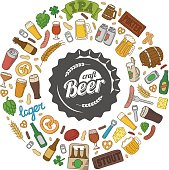 Hipster craft beer doodle poster.