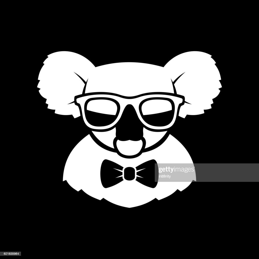 Hipster Cute Koala in Glasses and Bow Tie. Simple Logo