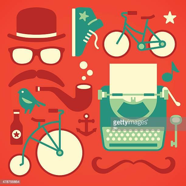 hipster design elements - horn rimmed glasses stock illustrations, clip art, cartoons, & icons