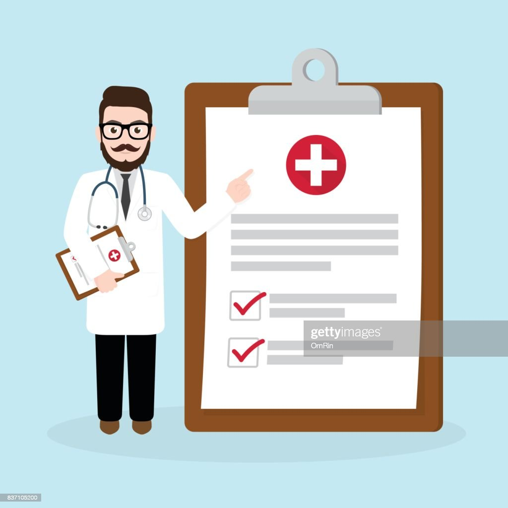 Hipster Doctor holding clipboard giving medical presentation