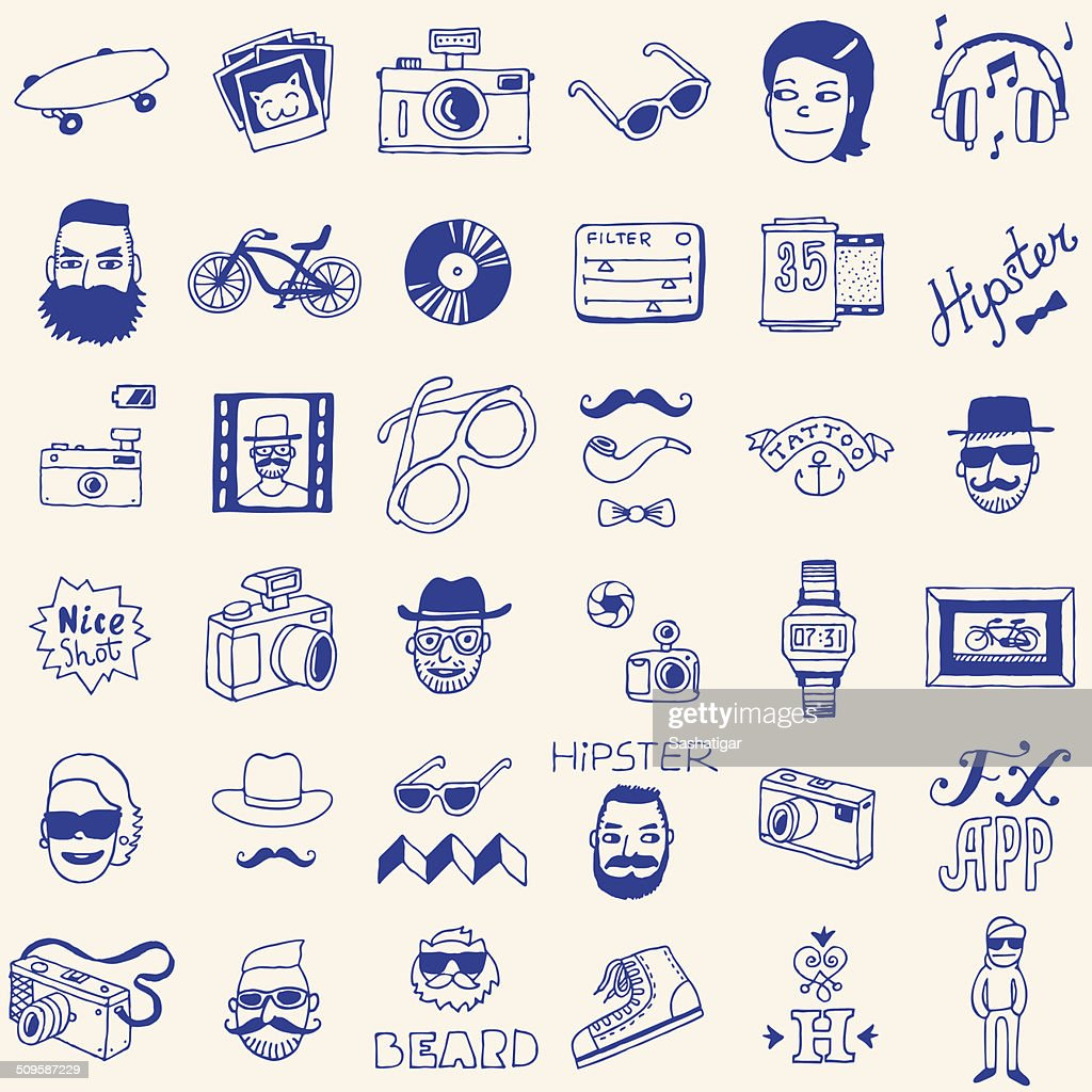Hipster doodle icons set. Vector illustration. Hand drawn.