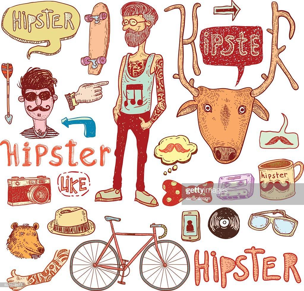 Hipster doodle set, hand drawn illustration.