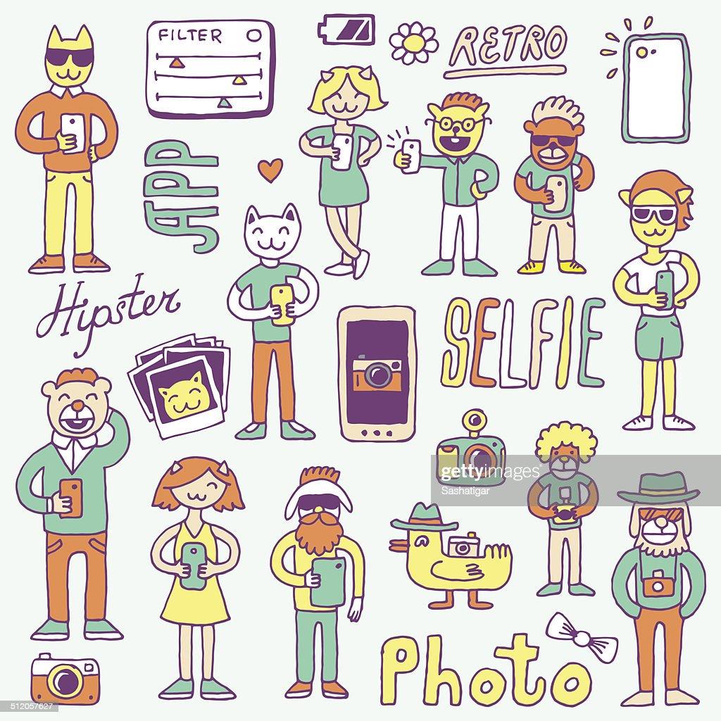 Hipster doodles selfie set colorful. Hand drawn vector illustration.