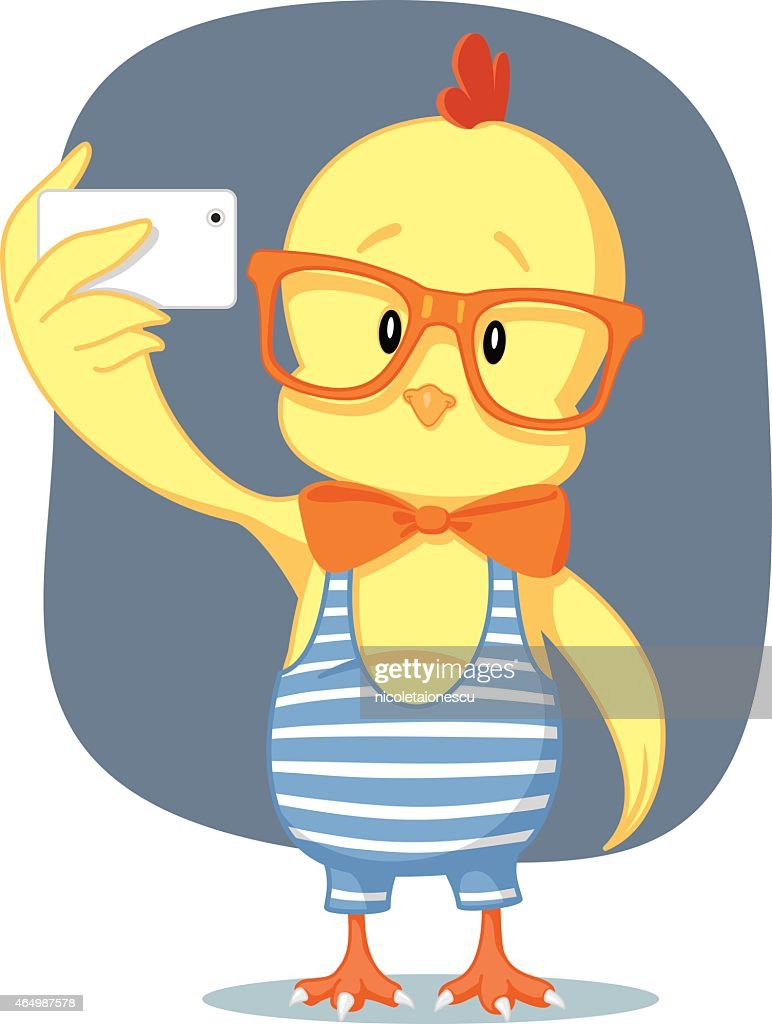 Hipster Easter Chick Takes Selfie with Smartphone