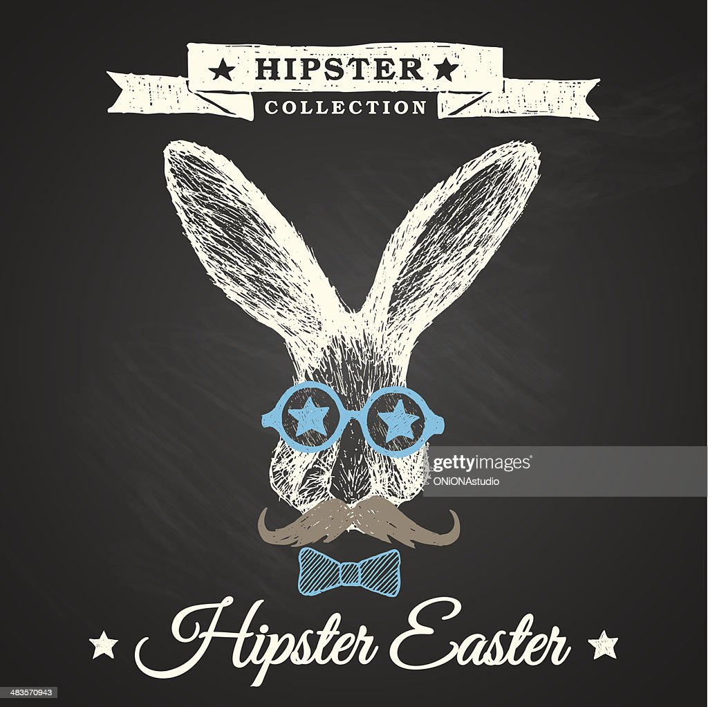 Hipster Easter - rabbit easter poster