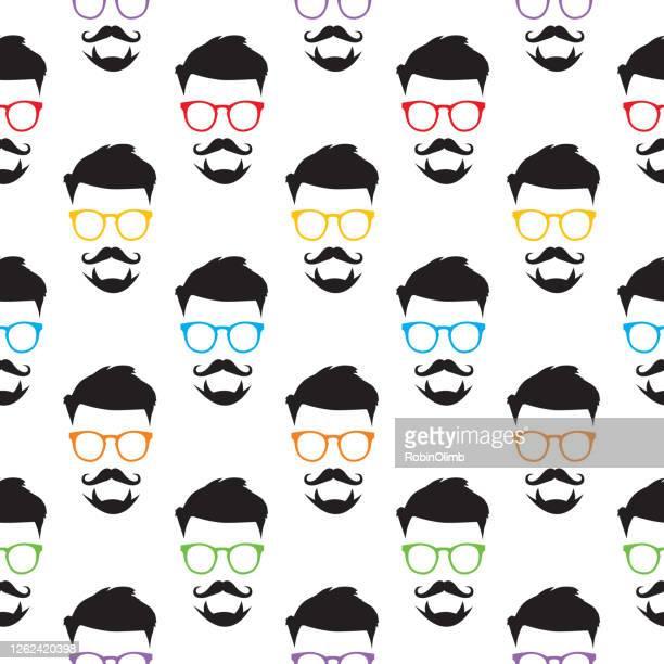 hipster eyeglasses face seamless pattern - goatee stock illustrations