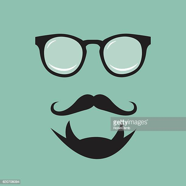 hipster face icon - goatee stock illustrations