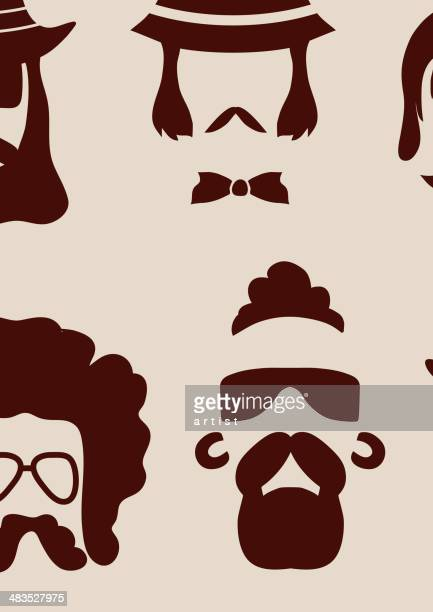 hipster faces - moustache stock illustrations