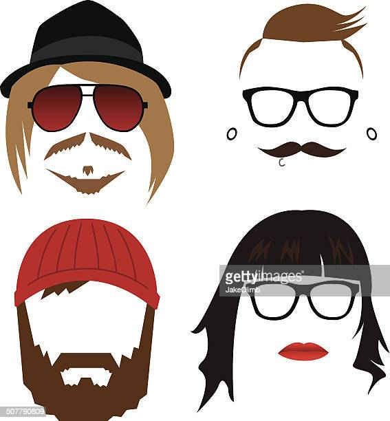 hipster faces - funky stock illustrations